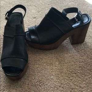 Top shop black leather and bamboo heel. Platform